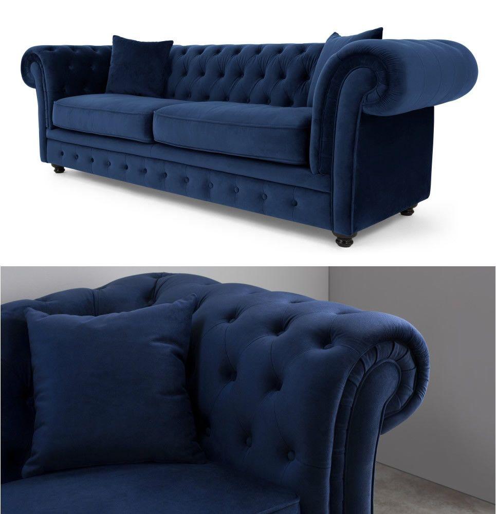 Details about Handmade Plush Velvet Fabric Chesterfield 3 Seater ...