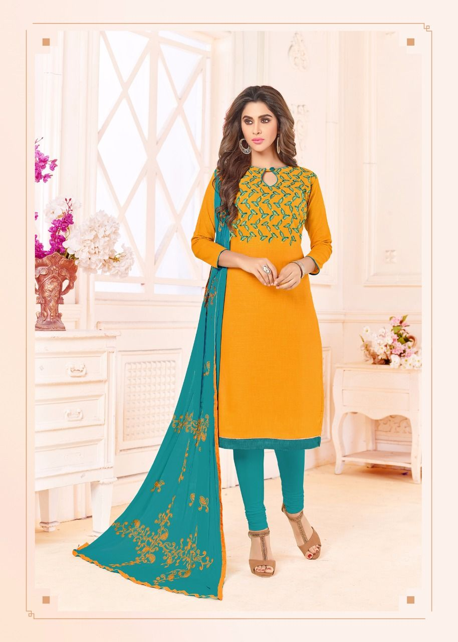 f854ff5b33 Imposing Yellow Colored Party-wear Embroidered Cotton Dress Material ...