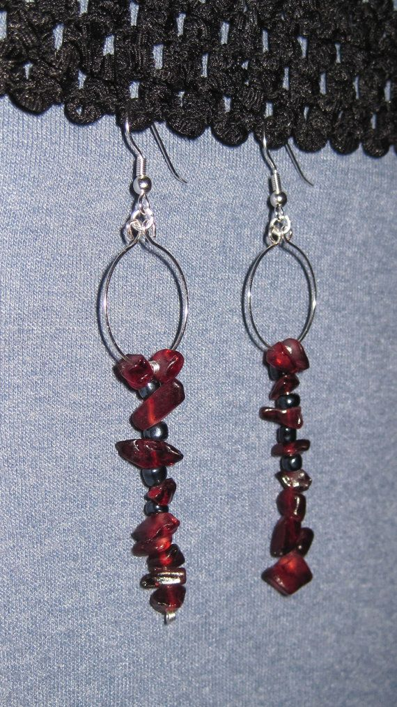 Deep red organic dangle earrings by BusyFingersOriginals on Etsy, $12.00