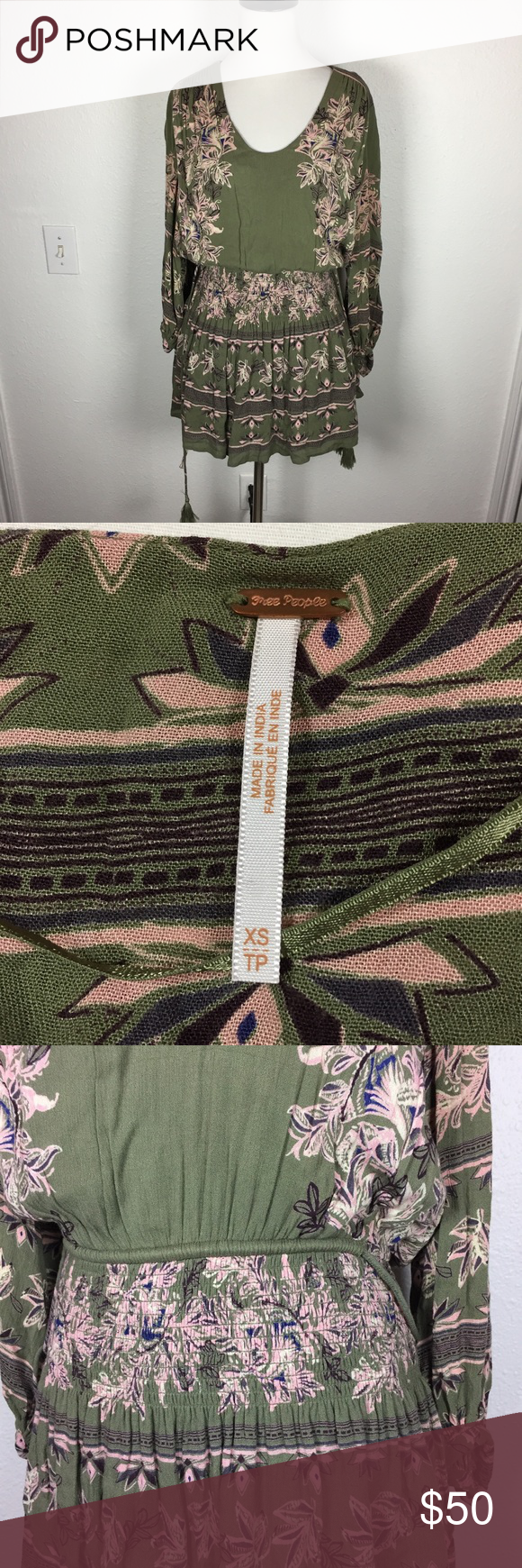 Cos green dress 2018  Free People olive green pink floral festival dress in   My Posh