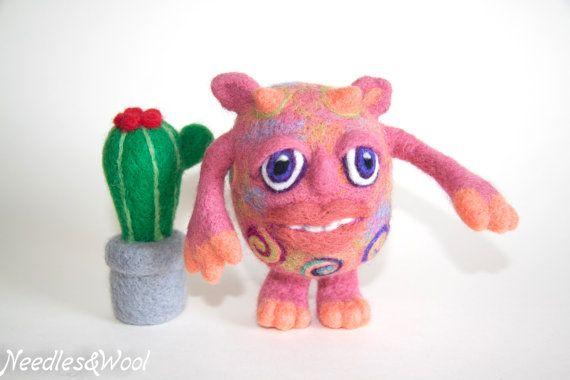Woolen Monster. Decorative soft sculpture. Organic woolen toy. Needle felted toy monster. Handmade gift.