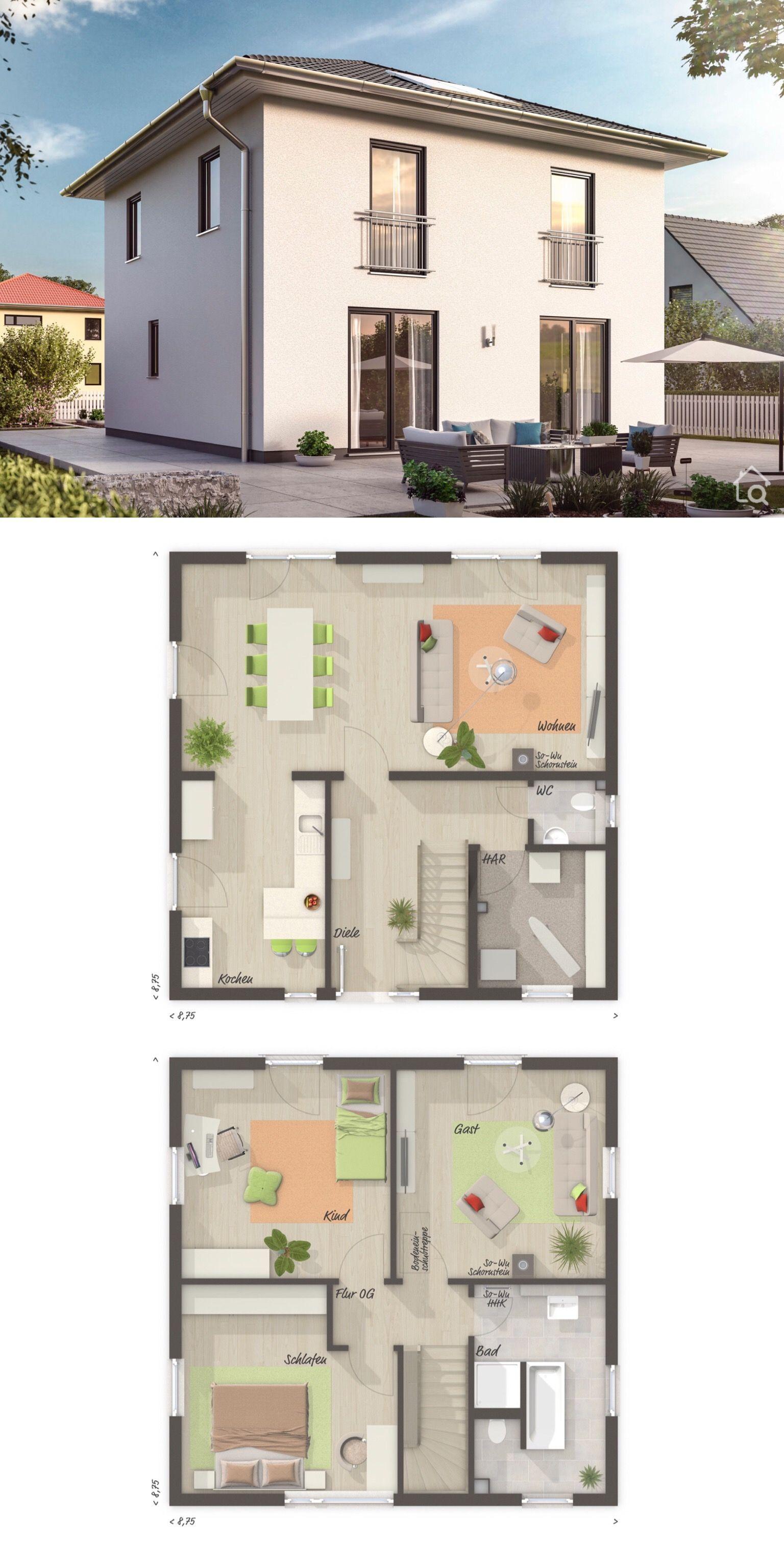 Moderne Stadtvilla Grundriss Erdgeschoss quadratisch mit