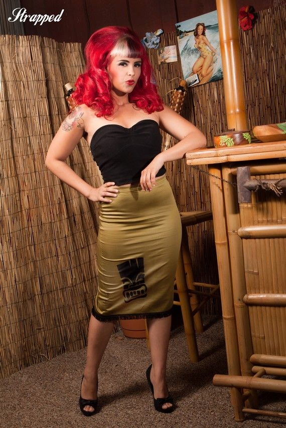 Tiki Trouble Pencil Skirt - Dismantled Fashions Rockabilly Pin Up Psychobilly