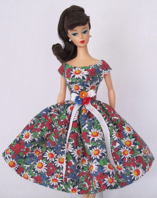 Flower Melee Vintage Barbie Doll Dress Reproduction Repro Barbie Clothes Ebay Doll Dress Barbie Clothes Vintage Barbie Dolls