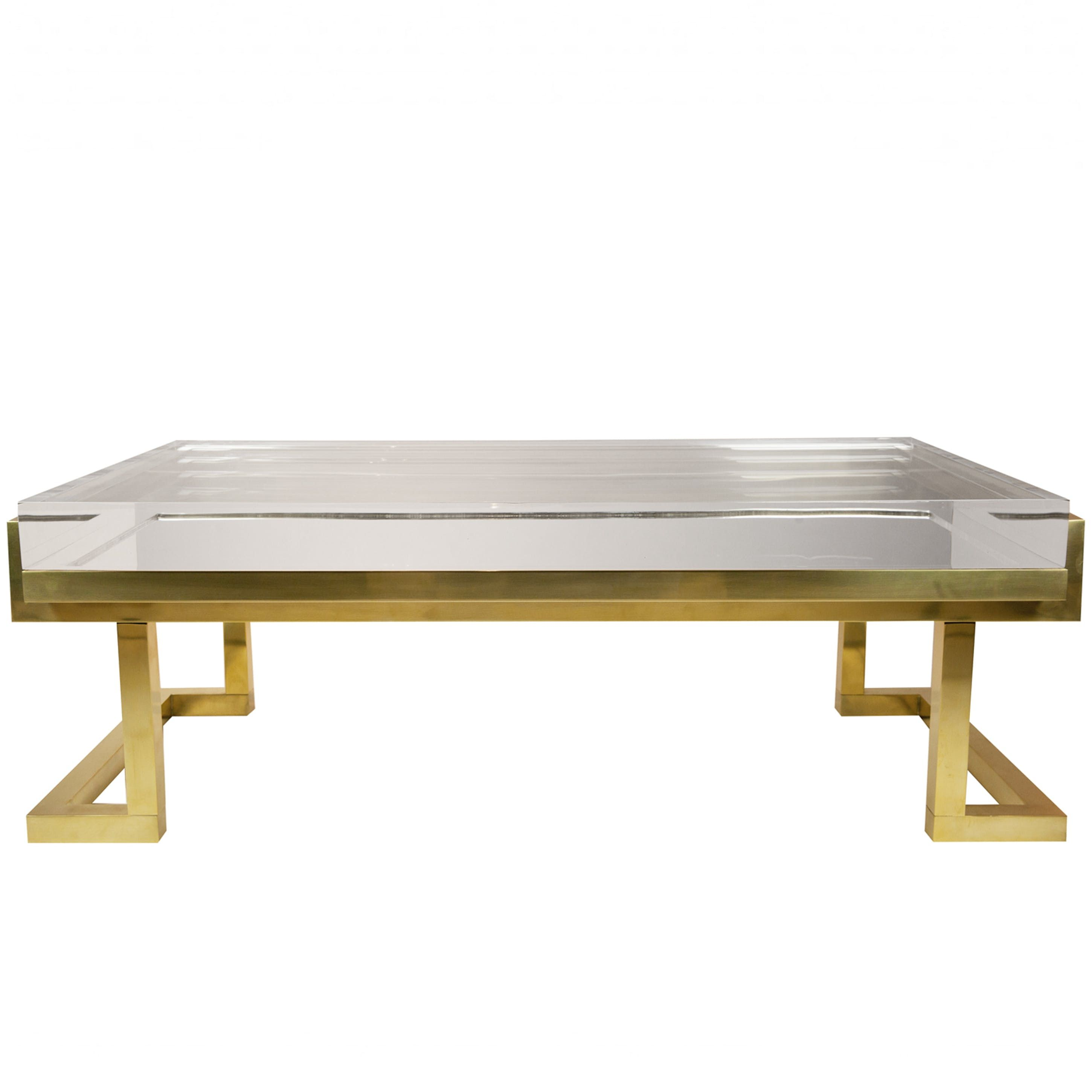 Mies Coffee Table In Natural Brass Coffee Table Lucite Coffee Tables Coffee Table Furniture [ 2900 x 2900 Pixel ]
