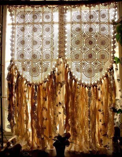 boho hippie crochet curtain fabric garland valance wedding backdrop rh pinterest com