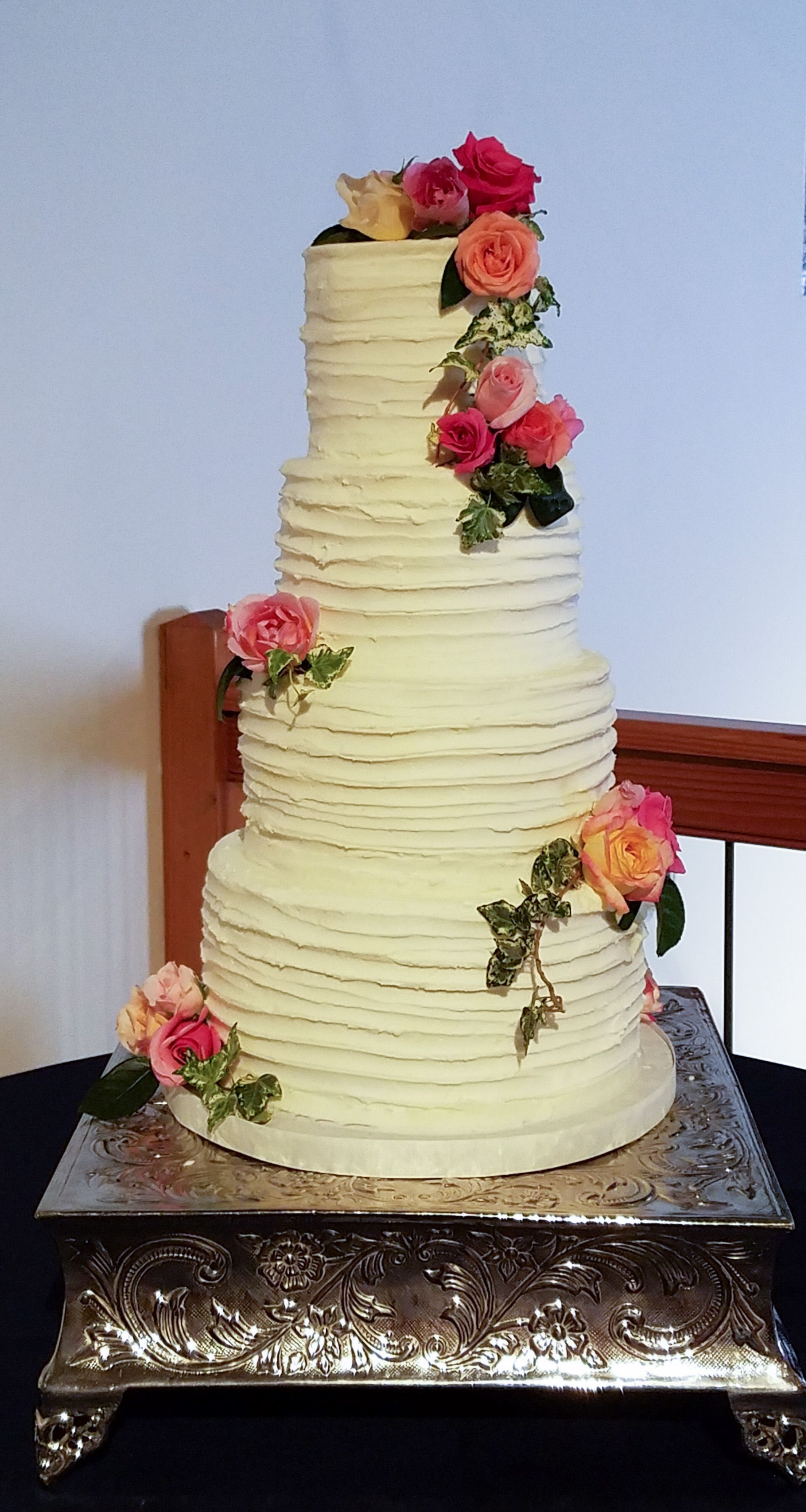 Rouched Buttercream Wedding Cake | Wedding Cakes | Pinterest ...