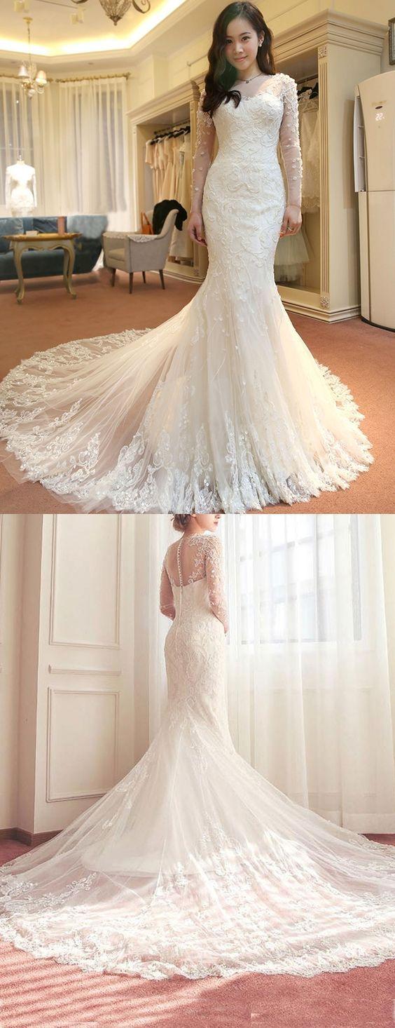 Lace mermaid wedding dress with train  Elegant Scoop Long Sleeves Appliques Chapel Train Mermaid Wedding