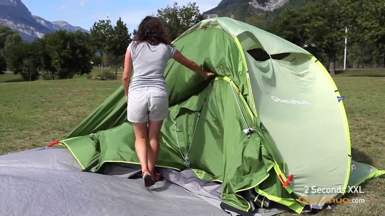 Hiking c&ers looking for a tent that is quick to pitch with a living space for sitting out of the weather. & Quechua - Folding 2 Seconds XXL Pop Up Tent - Pliage Tente 2 ...