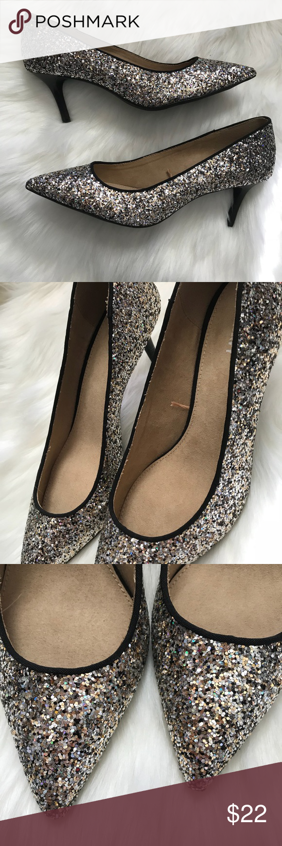 65744d9e1569 NEW Old Navy Glitter Short Heels New and never worn before! Size 8 from Old  Navy. Not too high and perfect to walk around in. No sparkles are missing.
