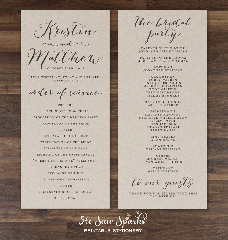 wedding stationery free printable%0A Printable Wedding Program  Eternity
