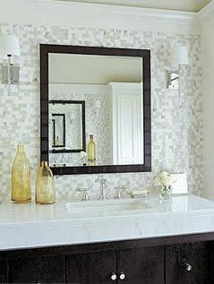 Glass Tile Backsplash Bathroom Vanity