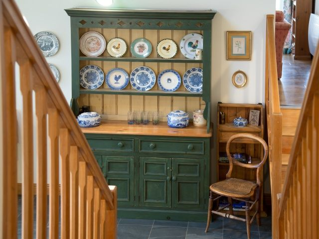 Stairs from the snug area into the kitchen. Copeland #cottage in Portinscale near #Keswick #lakedistrict www.sallyscottages.co.uk/copeland-cottage
