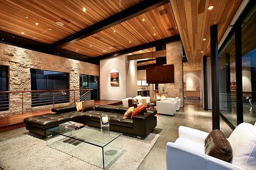 Luxury Living Rooms Tumblr: techo de madera y pared con imitación a ...