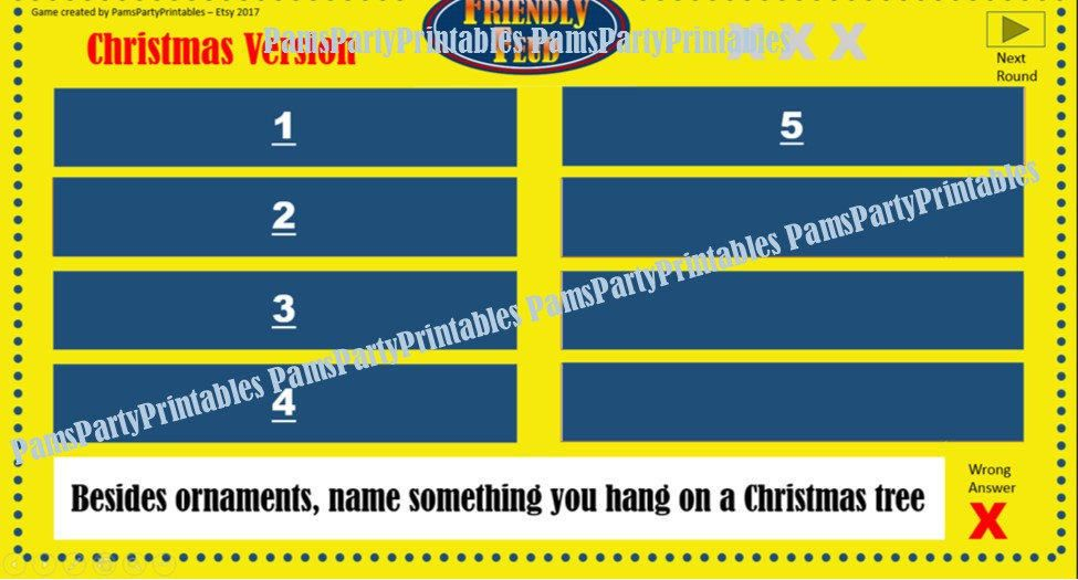Christmas Friendly Feud Game One Family Feud  Interactive