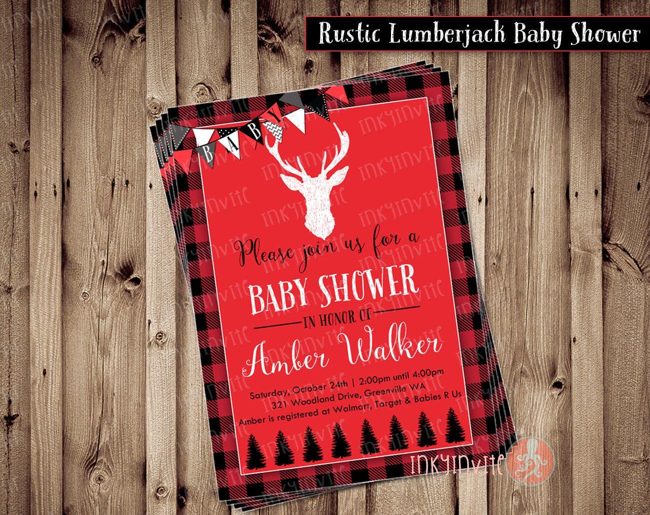boy baby shower invitations australia%0A Rustic Lumberjack Baby Shower Invitation Baby Boy by InkyInvite