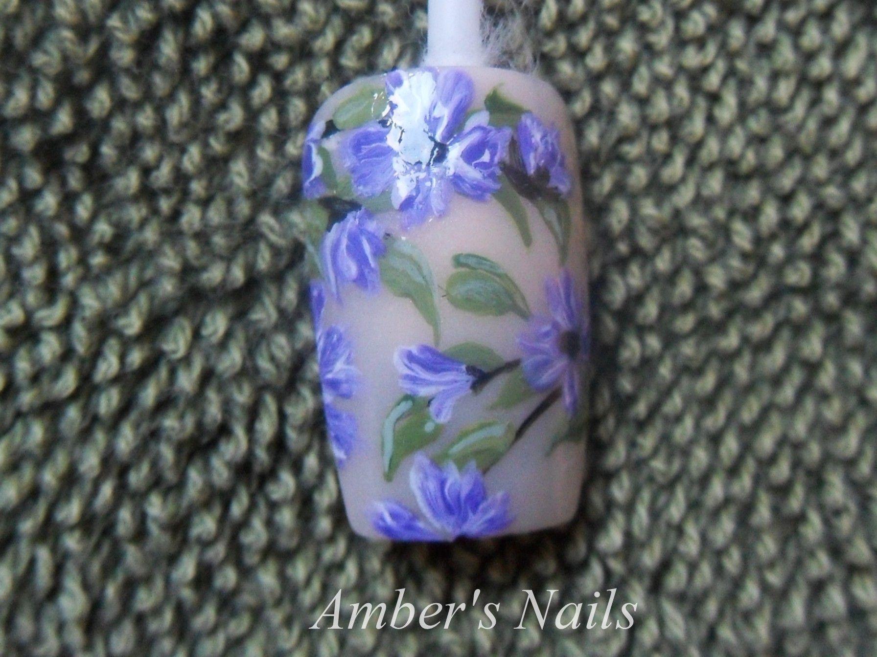 Wispy Purple Flowers on a French Background