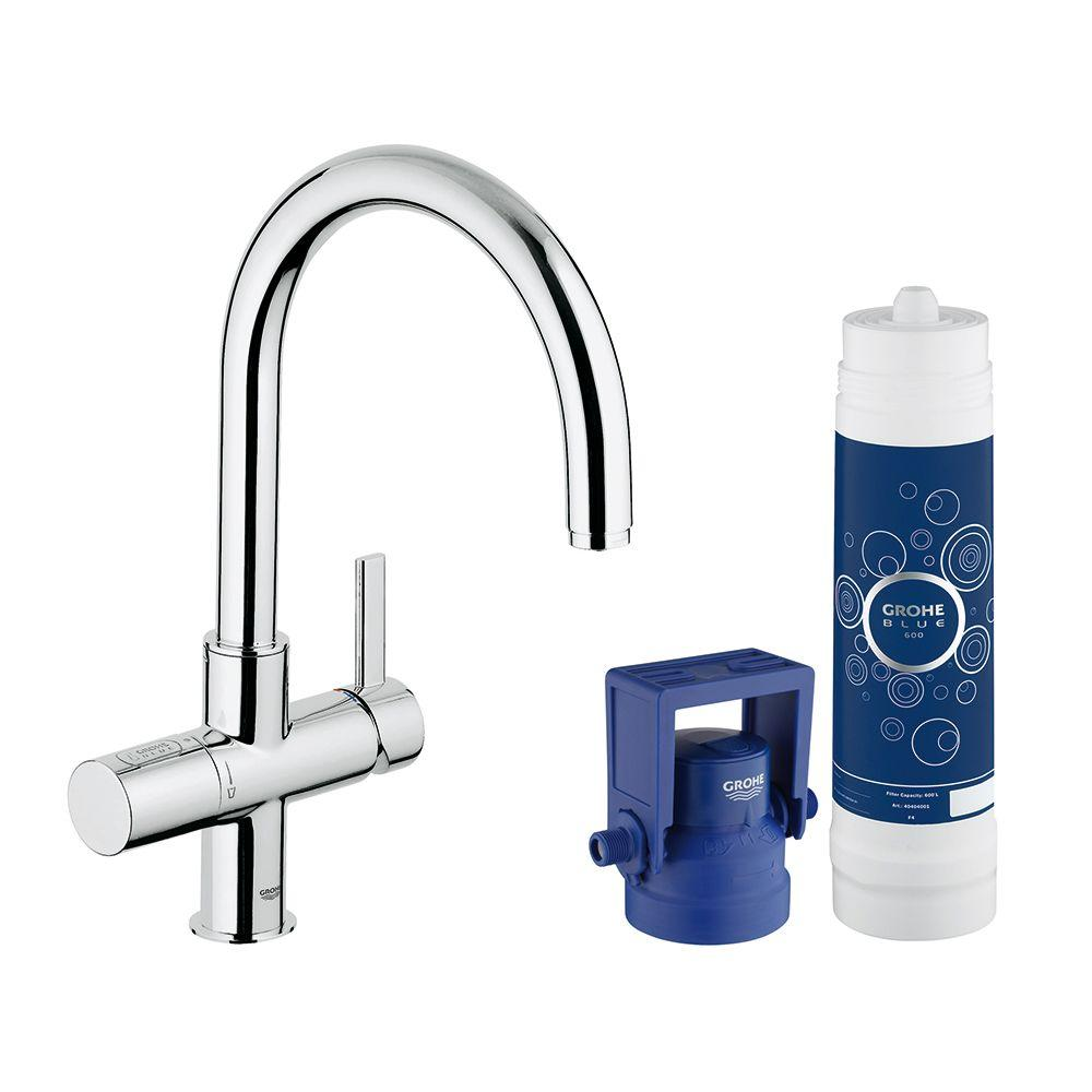 grohe blue pure 2 handle standard kitchen faucet in starlight chrome rh za pinterest com