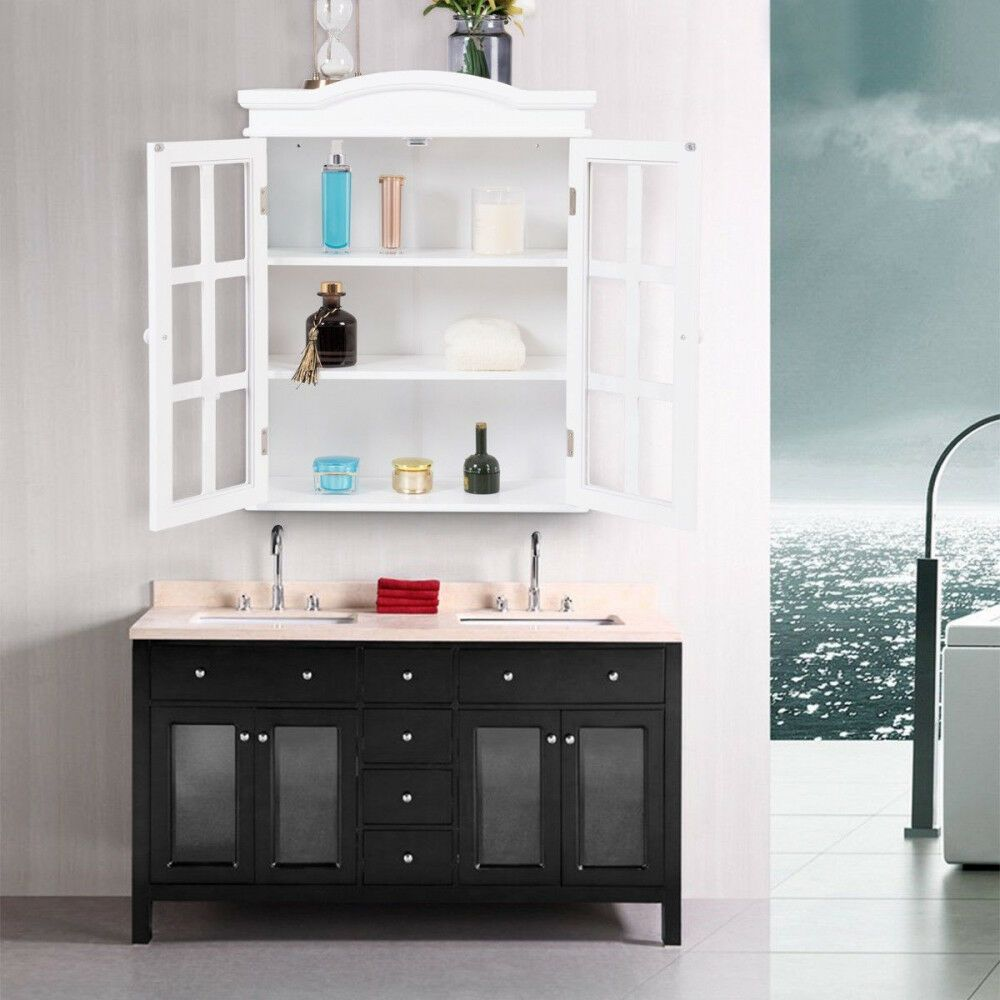 wall mount cabinet bathroom 2 doors shelves large storage craft rh pinterest com
