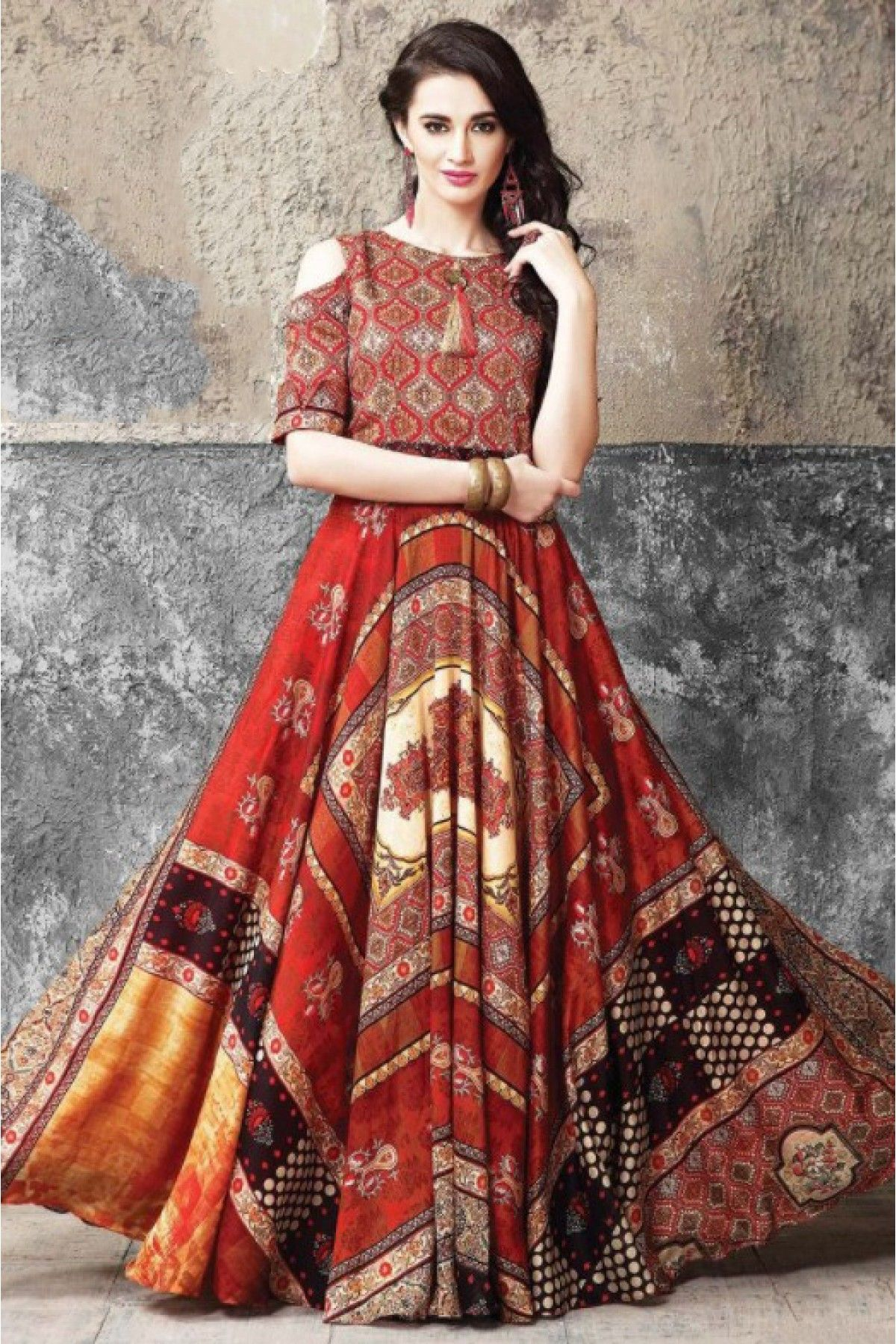 1fea03f9322 This Exclusive Gown Is An Ultimate Party Wear Collection With The  Mesmerizing Colour Red With The Printed. Be At Your Fashionable Best. Silk  Stitched Gowns.