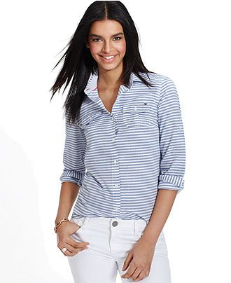 d3e587ef Tommy Hilfiger Long-Sleeve Striped Button-Down Shirt - Tommy Hilfiger -  Women - Macy's