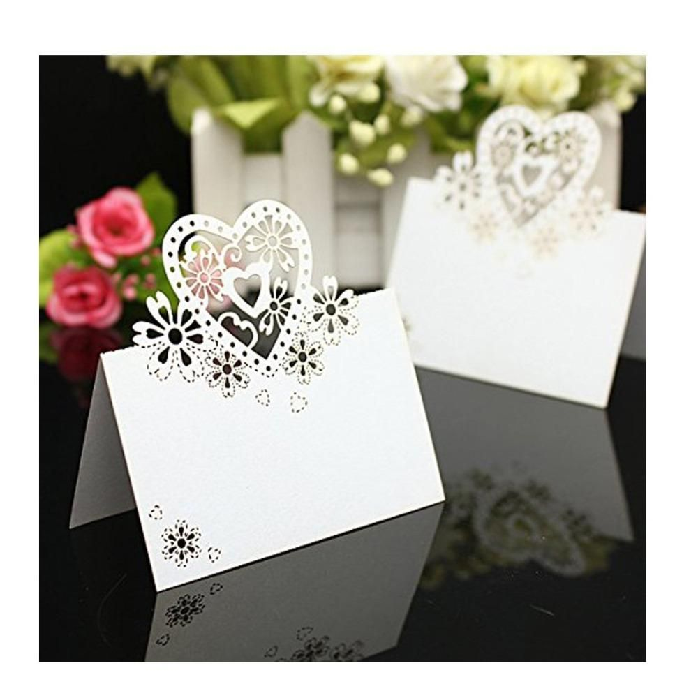 wedding celebration invitation%0A   Pieces Heart shape Laser Cut Table Name Place Cards Pearlescent White for Wedding  Party Favor Decoration   Color