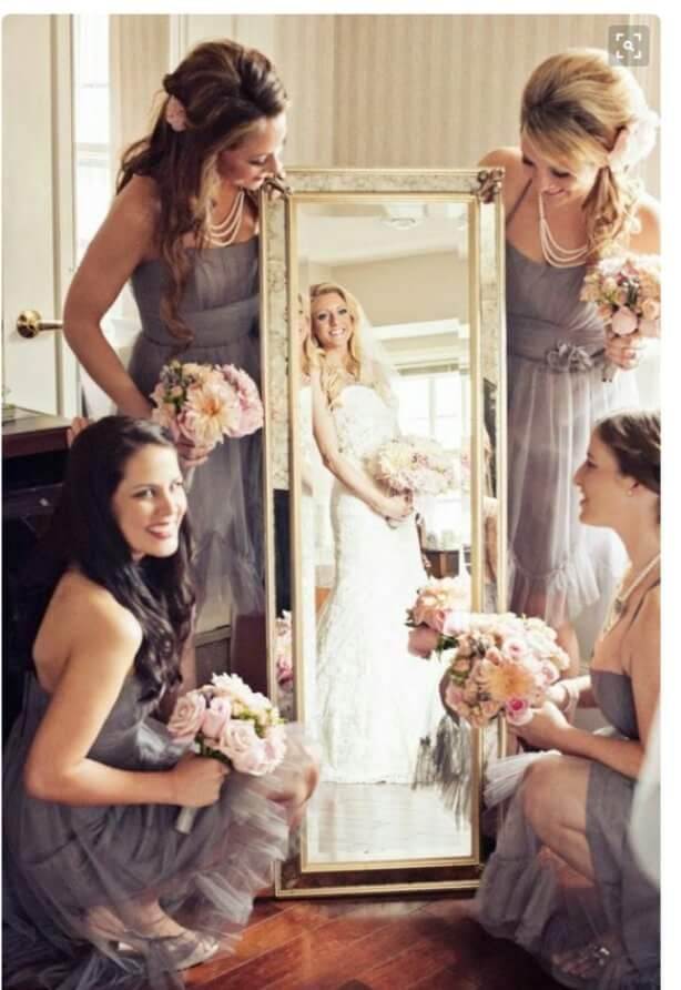 cool wedding shot ideas%0A    GettingReady Wedding Photos Every Bride Should Have  Girls showing the  bride in the mirror is a fun idea