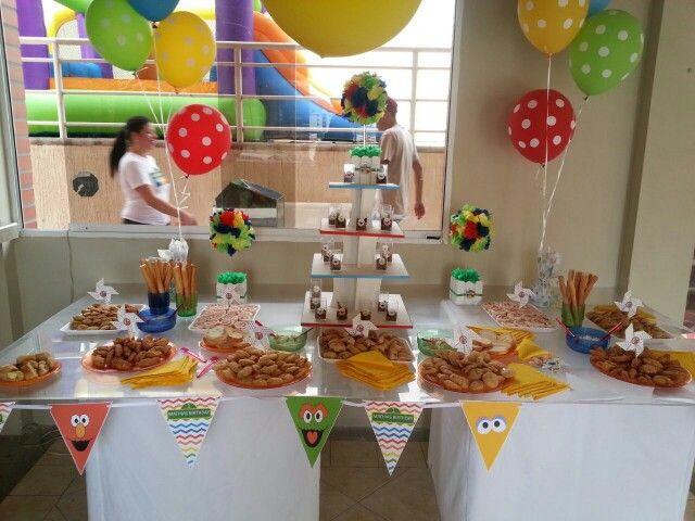 Sesame street plaza sesamo cumpleaños numero uno 1st birthday  pasapalos party kids elmo sesame street party ideas