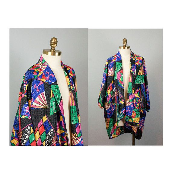 Satin Fan Print Cocoon Jacket // Short Kimono by waywardcollection, $30.00