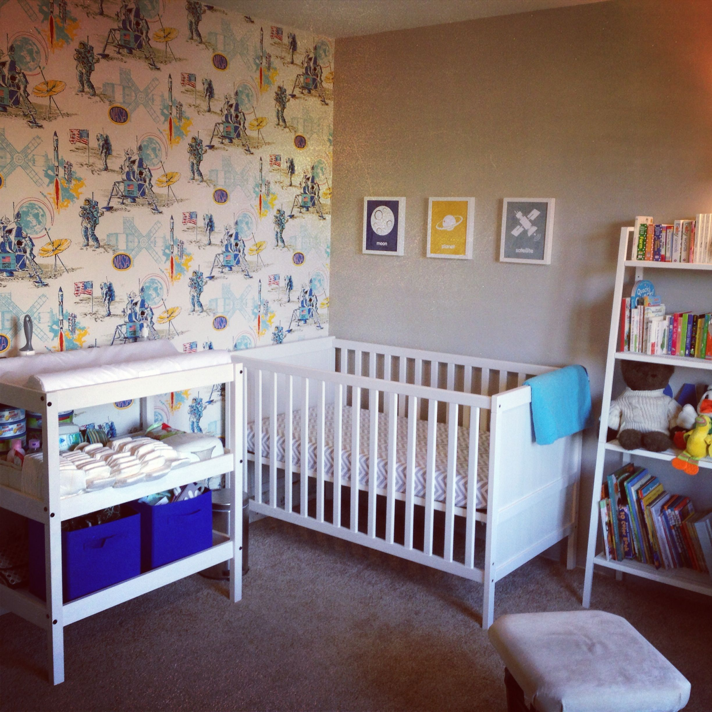 NASA themed boy nursery with vintage wallpaper Outer