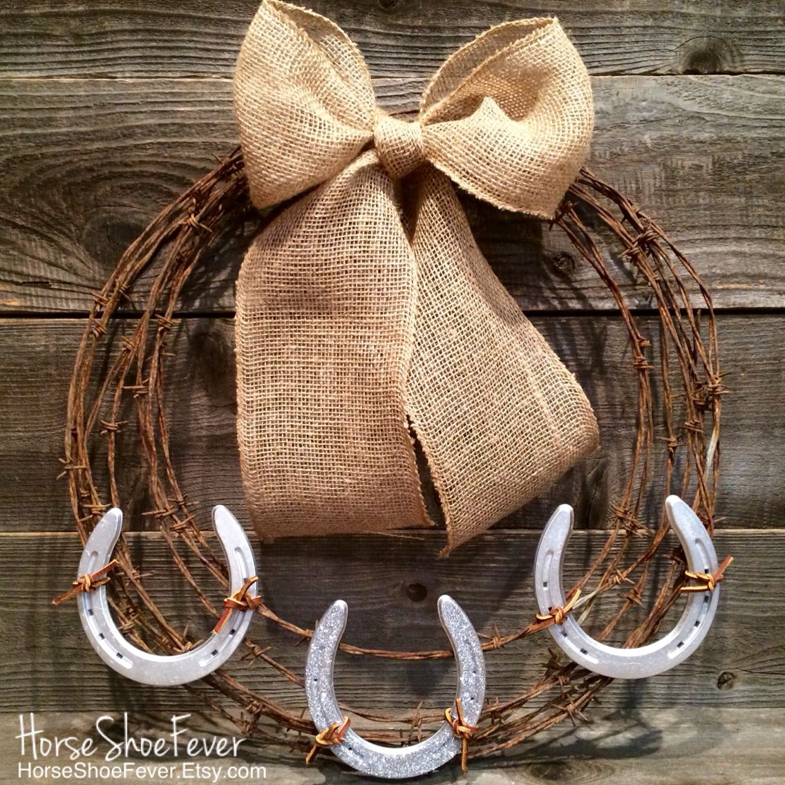 Barbwire Horseshoe Wreath, Horses, Equine, Cattle Brand