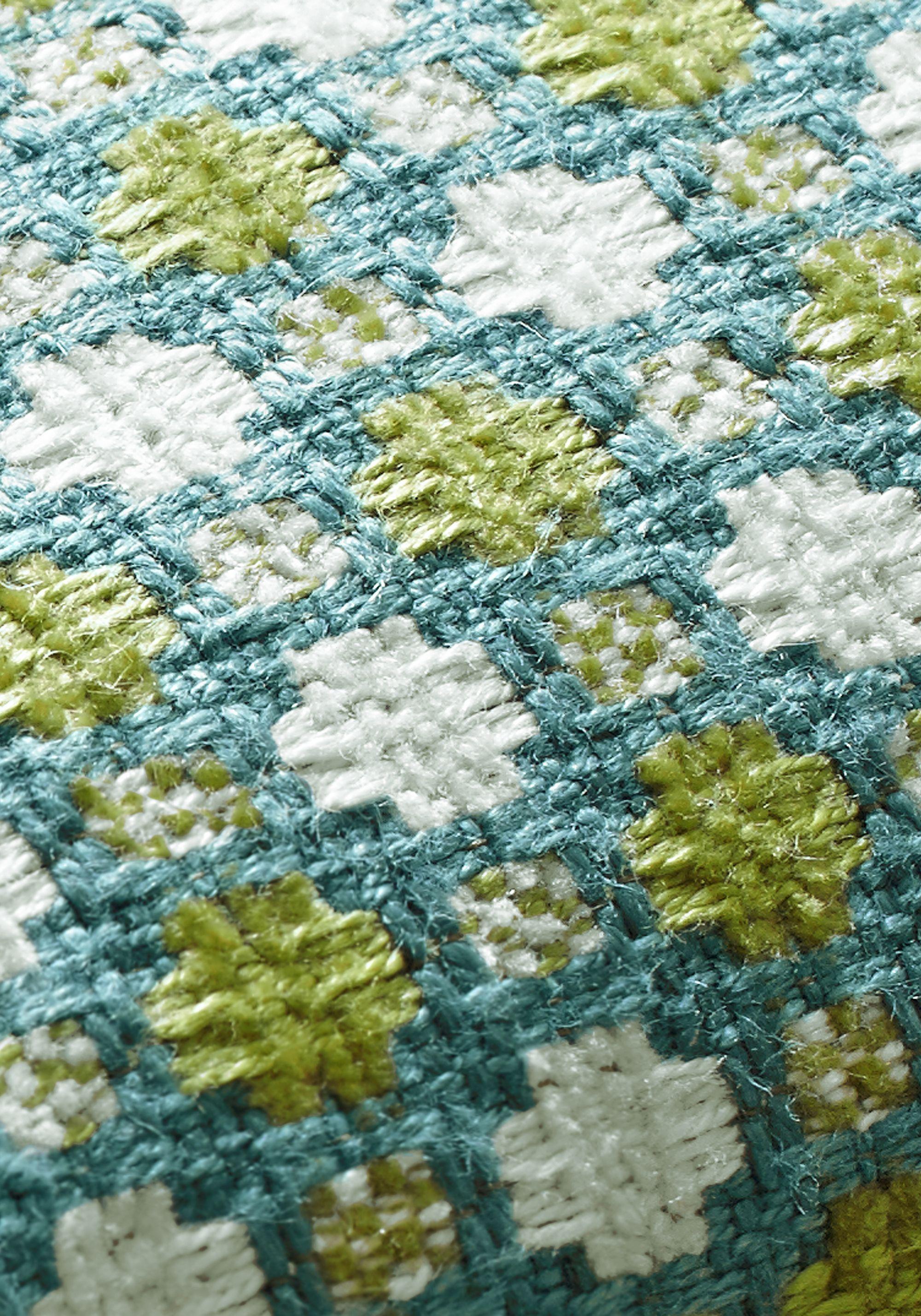 Maximillian geometric fabric in aqua, white and lime green