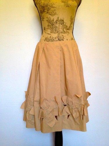 Prada S/S 1999 cotton flower applique skirt