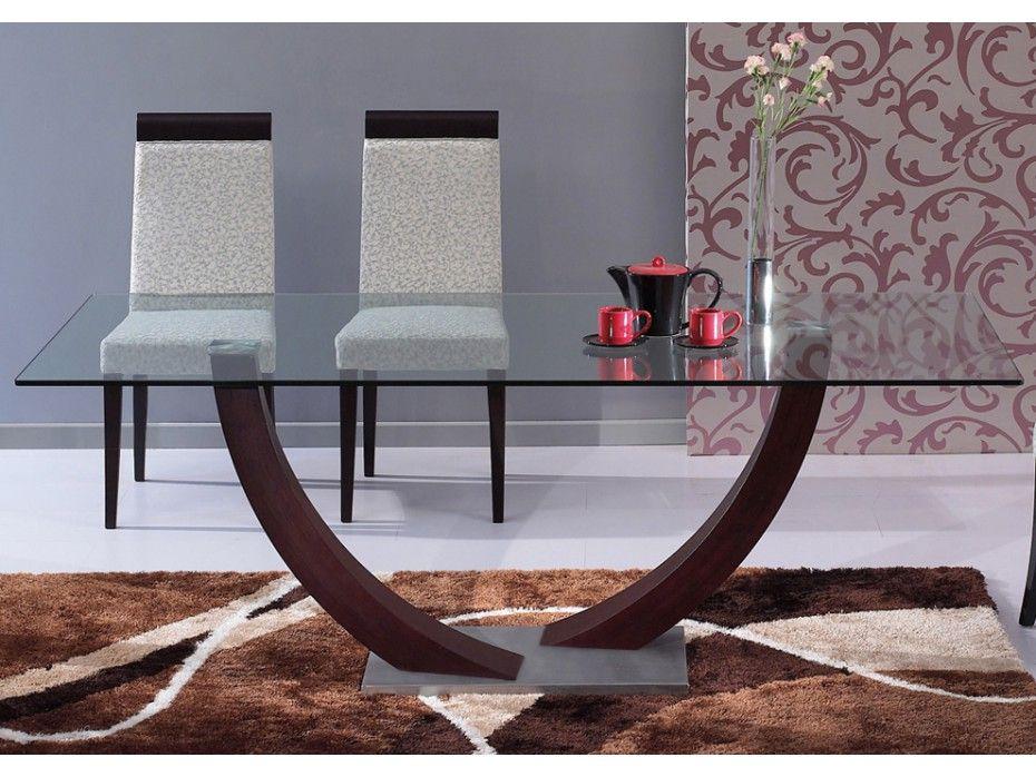 Mesa de comedor melodie 6 comensales madera y cristal for Comedores minimalistas de cristal