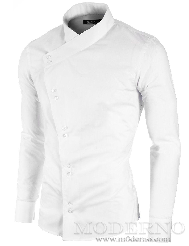 Mens slim fit asymmetric long sleeve casual shirt white (MOD1430LS)