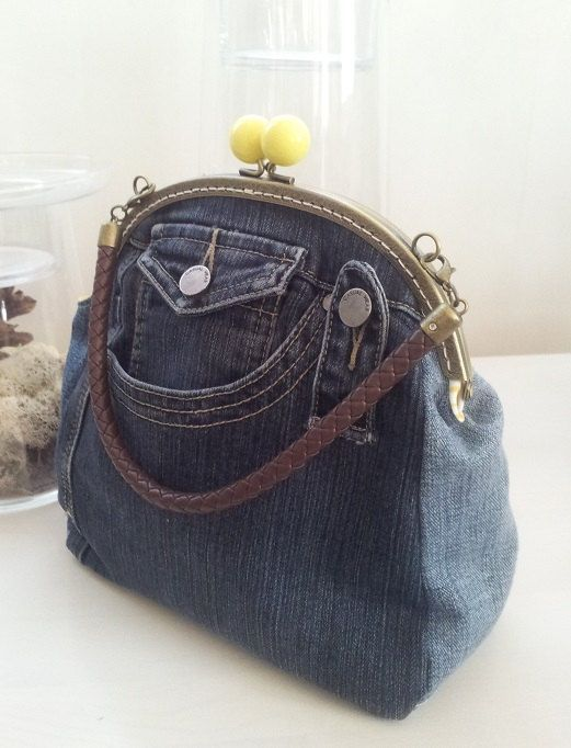 Denim Purse Hand Bag From Recycled Jeans Clutch With A Metal Frame Kiss Lock Evening