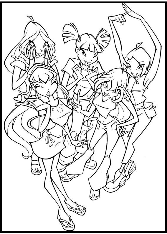 Winx Club Girls coloring picture for kids  Winx Club  Pinterest