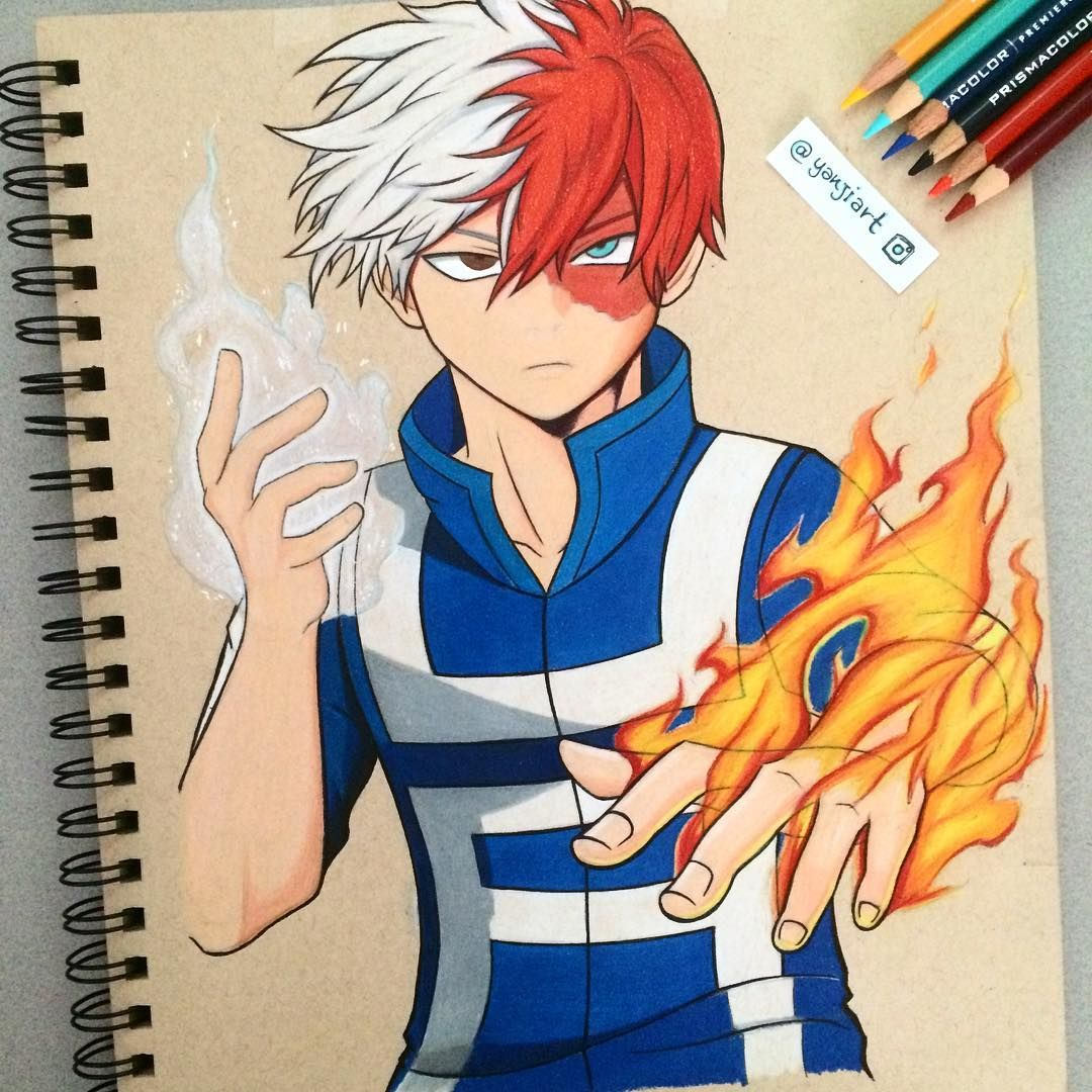 """Photo of Yanji on Instagram: """"It's hot here isn't it ? ?? _ But anyway… hi everyone ! ? I'm happy to show you the 3/5 hero on my list ! Todoroki Shoto ?❄️ _ Next on my…"""""""