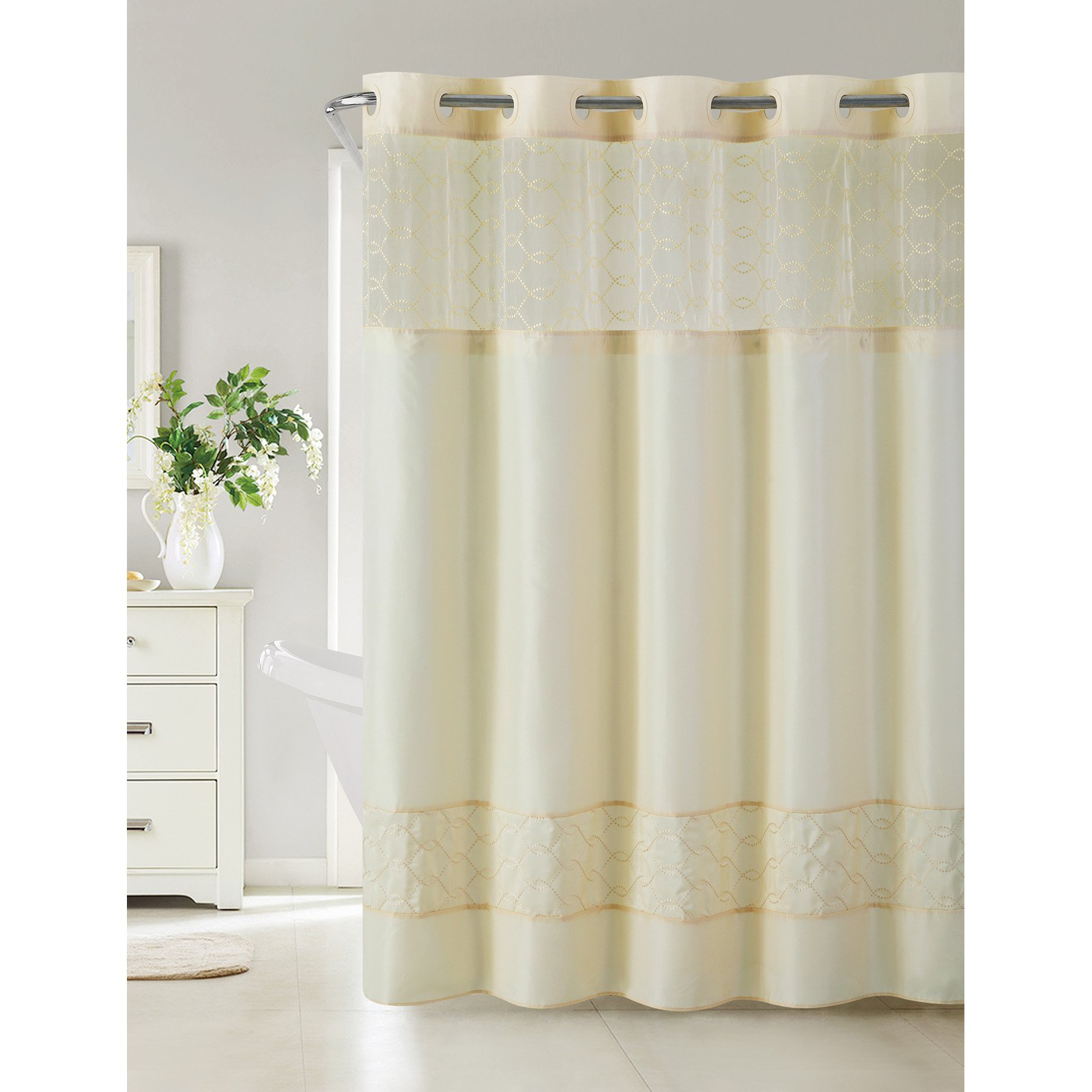 Hookless Downtown Soho Polyester Shower Curtain Vanilla Curtains