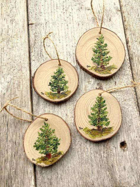 Ornament Painting, Pine Tree Decor, Rustic Christmas Ornaments, Stocking Stuffer for Women, Tree Painting on Wood, Wood Slice Art #bastelideenweihnachtenkinder Painted Wood Ornament. Debramarieart.etsy.com #rusticchristmas