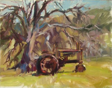 Mike's Tractor, painting by artist Robin Cheers