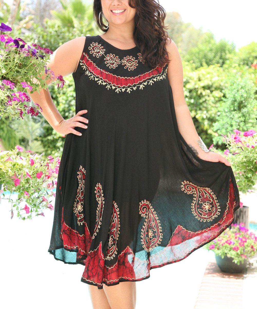 c9b4b2ae88998 Red   Black Floral Paisley Batik Shift Dress - Plus by Ananda s Collection