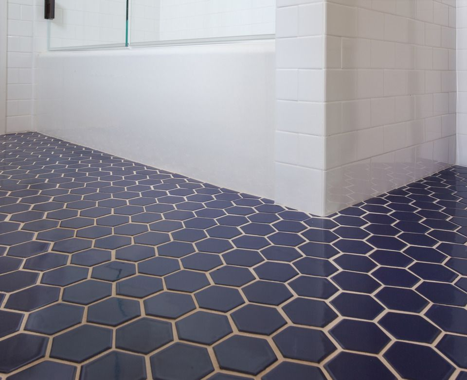 Fireclay Tile Navy Blue Hex Tile Bathroom In 2018