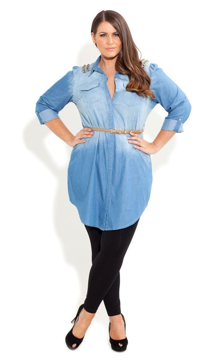 city chic - denim stud shirt - women's plus size fashion