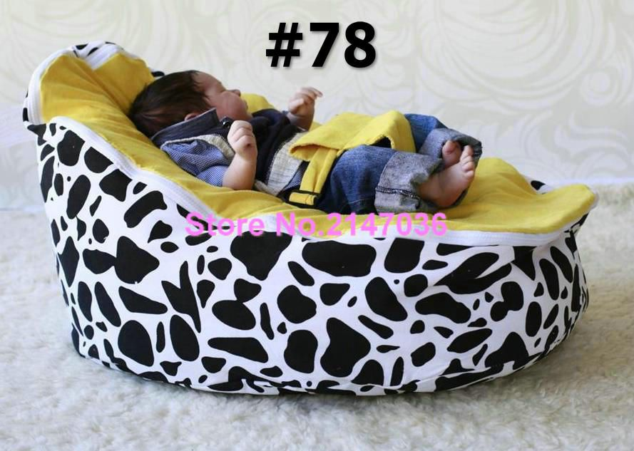 Cotton Canvas COW And Blue Dots Custom Print Baby Bean Bag Chairs Wholesale