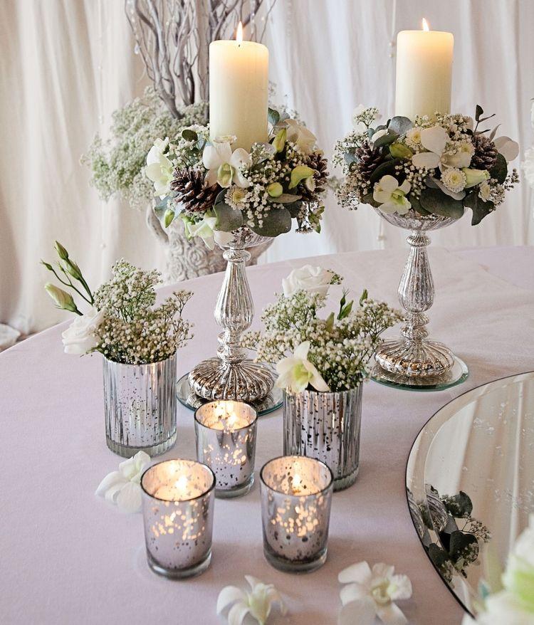 D coration florale vintage de la table festive hivernale for Composition florale exterieur hiver