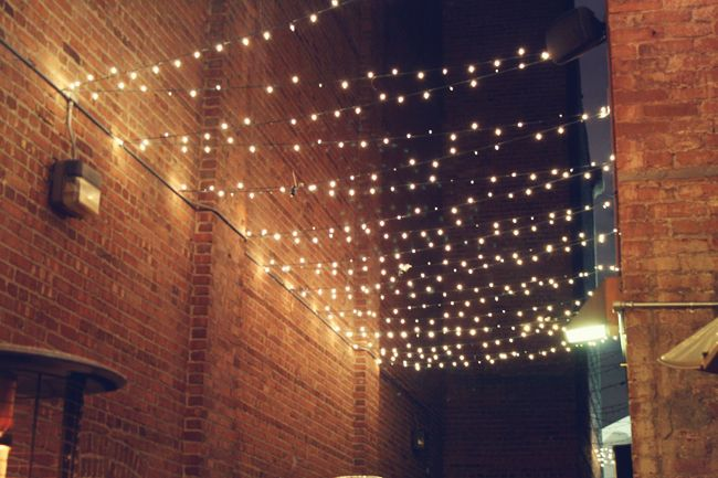 @Heather I want to string lights like this from my house, to posts on the deck. Have a fall dinner out there? Check.