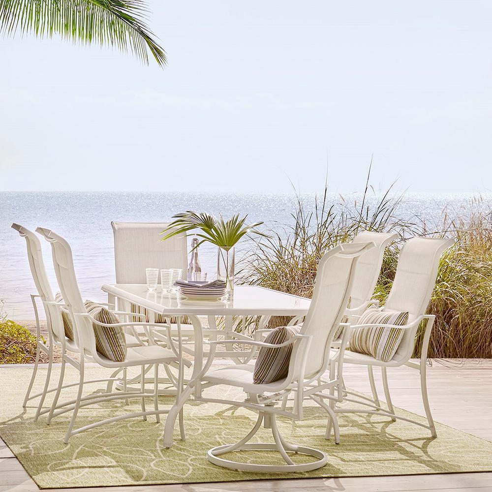 Hampton Bay Statesville Patio Furniture.Hampton Bay Statesville Shell 7 Piece Aluminum Outdoor Dining Set