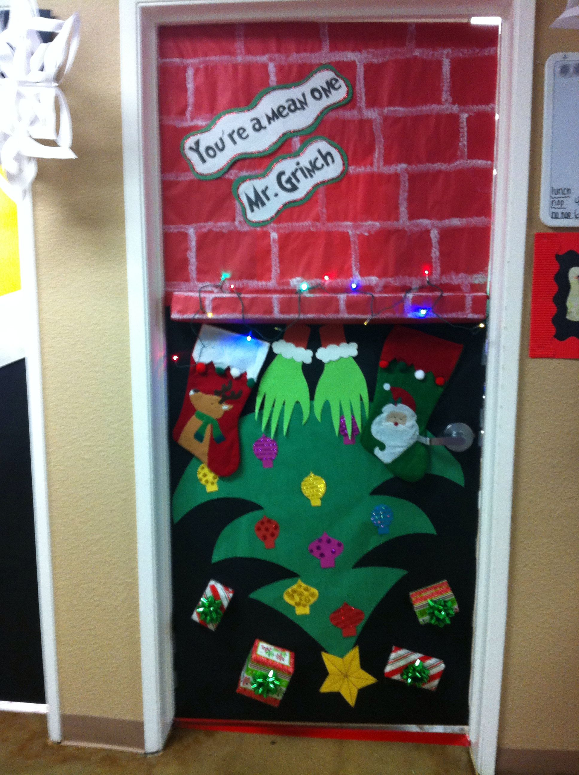 "Grinch door for Christmas! ""Youre a mean one Mr. Grinch"
