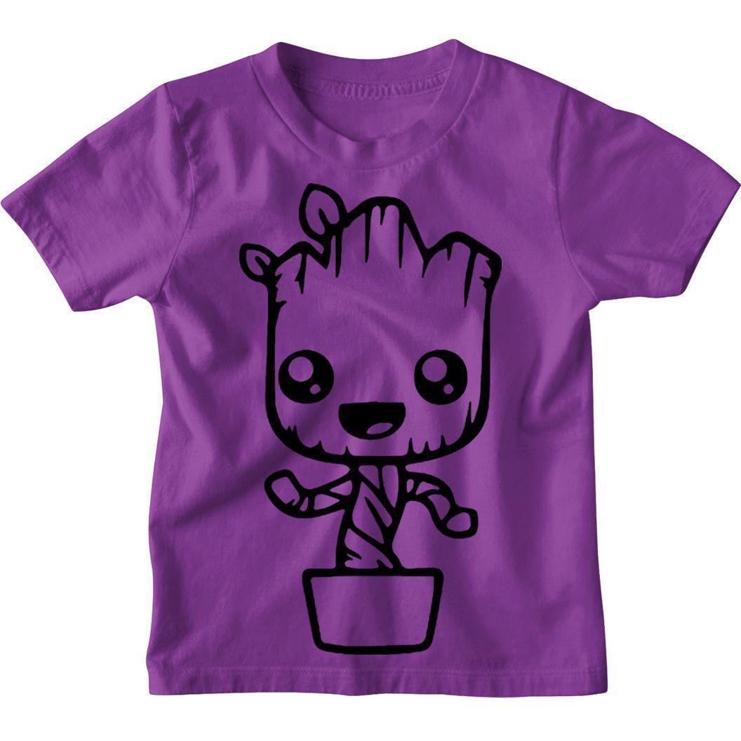 Groot in pot Kids Unisex T-Shirt Funny cute dancing - Age 7-8 / Purple / Kids T-Shirt